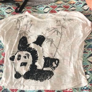 🚗😊Nat Geo Sheer White Panda Tee